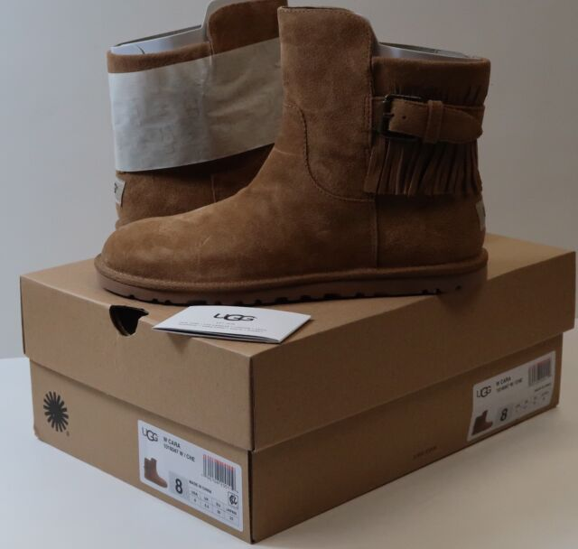 5f5c106c3eb Authentic UGG Cara Ankle Fringe Suede in Chestnut Women's Boots Brand New