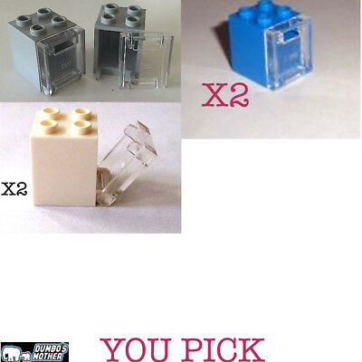 Containers Cabinet with Clear Door 2x2x2 Light Bluish Gray White NEW Lego 2