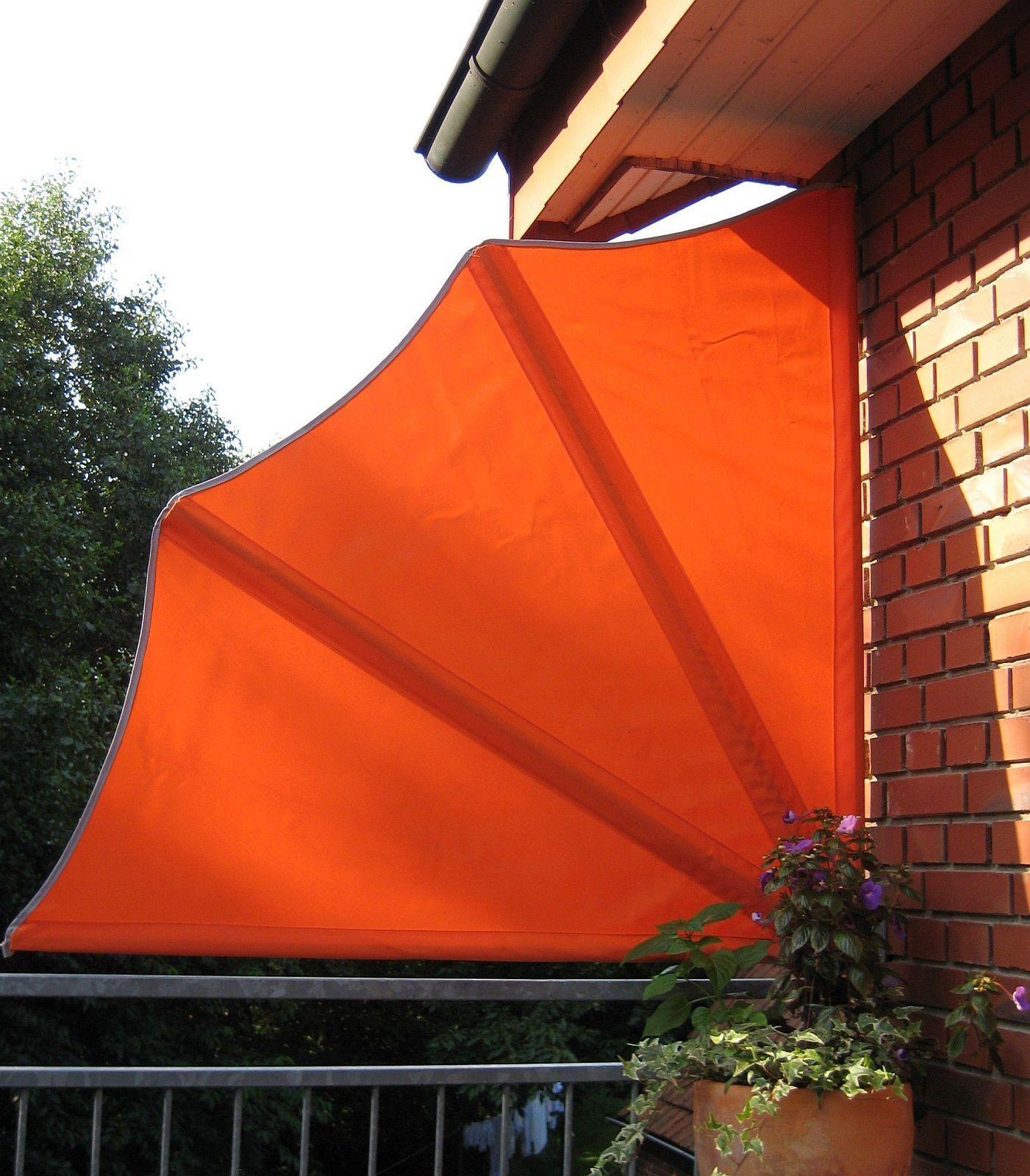 Balkonfächer 3 Farben 140 cm Seitenmarkise Windschutz Sichtschutz LC-Sun