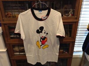a766ce804c4f3 Details about VTG NWT 80 s Mickey Mouse Red Accented Colored Ringer Disney  T Shirt SZ XL -Rare