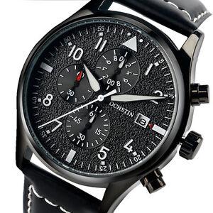 Men-Pilot-Date-Luminous-Quartz-Chronograph-Leather-Band-Sport-Wrist-Watch-Analog
