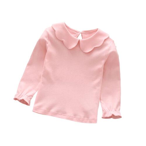 QA/_ BABY GIRL COTTON PETER PAN COLLAR LONG SLEEVE SOLID COLOR TOP T-SHIRT CLAS