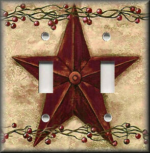 Metal-Light-Switch-Plate-Cover-Country-Decor-Red-Barn-Star-Berries-Farm-Decor