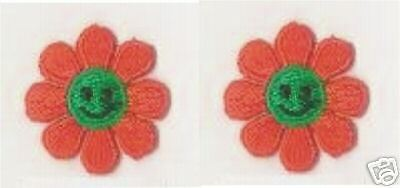 """1/"""" Orange Daisy Smiley Flower Embroidery patch applique"""