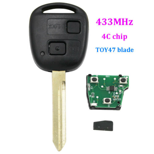 Keyless Entry 2 Buttons Smart Remote Key fob for Toyota RAV4 433MHZ with 4C Chip