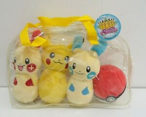 Pikachu-Plusle-Minun-Pokeball-Pokemon-4-Set-Bag-Pin-Bowling-Plush-2004-Japan