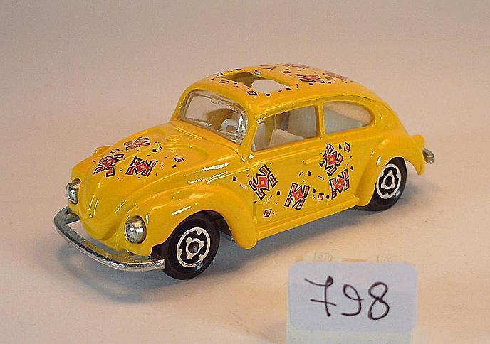 Majorette 1 60 nº 202 203 VW volkswagen 1302 escarabajo Beetle giallo con decoración