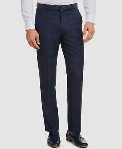 315 34w 32l Para Hombre Michael Kors Classic Fit Traje De Lana Azul Pantalones Pantalones A Cuadros Ebay