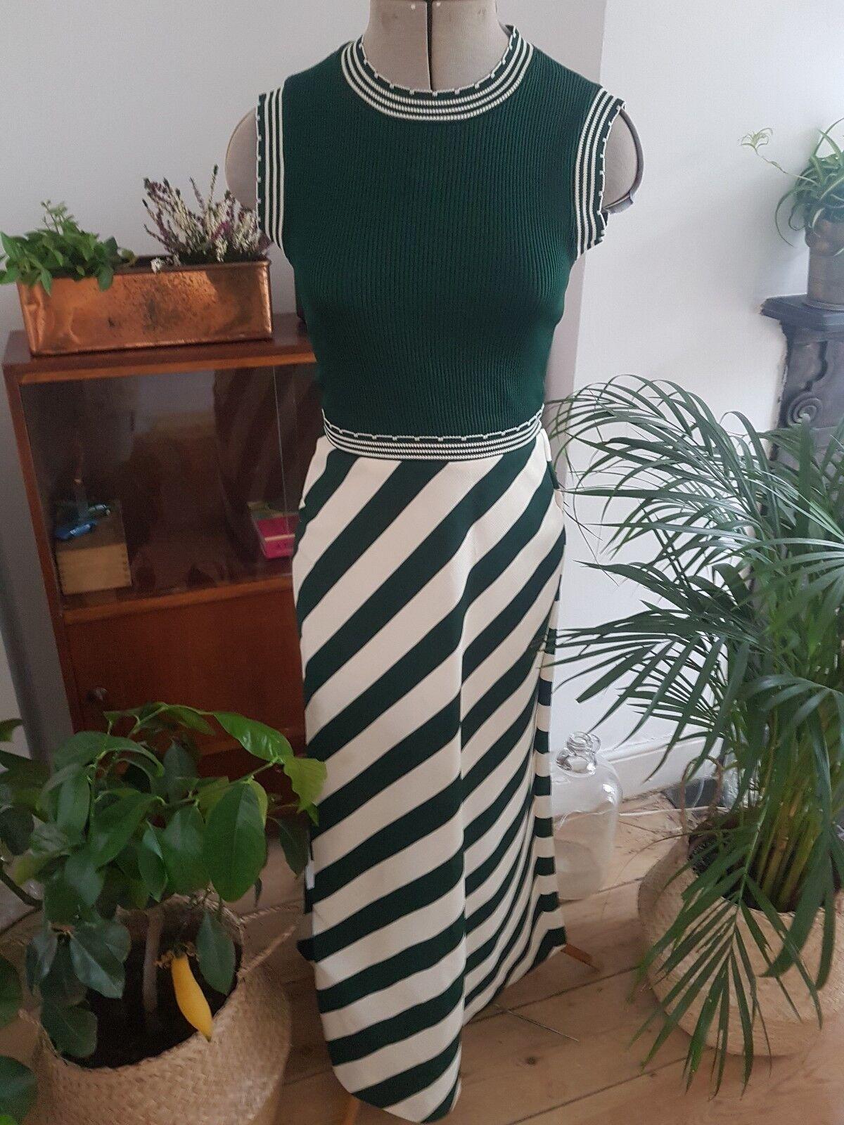 Vintage MOD JONATHAN LOGAN Boho knitted GREEN WHITE MAXI DRESS SIZE XS S 6 8
