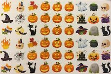 Nail Art Water Decals Halloween Jack-o-latern Scary Fire Skull Witch Cauldren