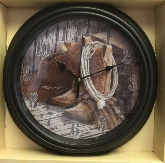 Hanging Wall Clock Western Home Decor Accent.Collage of Cowboy hat,Rope BOOTS.
