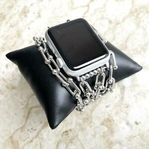U Shaped Chain Link Bracelet Band for Apple 38mm 40mm 42mm 44mm Watch All Series