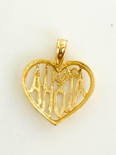 C552-10 14K Solid Yellow Gold Hawaiian Pineapple Aloha Heart Pendant