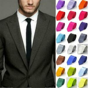 Hommes-Classique-Fin-Skinny-Mariage-Solide-Satin-Uni-Cravate-Cravate