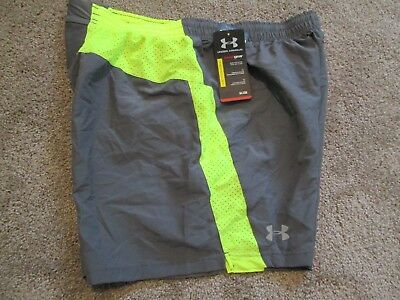 NEW Mens UNDER ARMOUR RUNNING SHORTS w// Brief Lining Gray//Neon 2XL FREE SHIP!