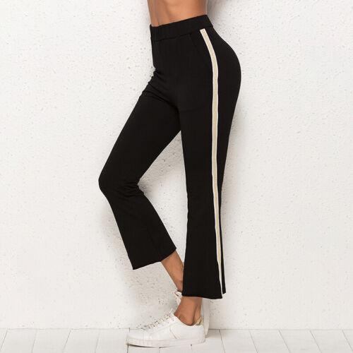 Women Comfort Yoga Pants Side Striped Ladies Active Wear Gym Leggings CP