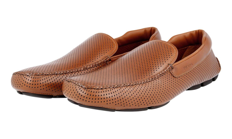 AUTHENTIC PRADA BUSINESS scarpe LOAFER 2DD115 Marronee NEW US 10 EU 43 43,5