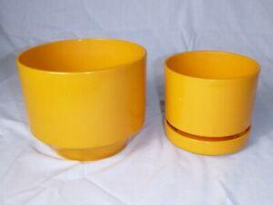 Pr Vtg 70's MOD Light Orange Color Plastic Plant Pots Planters