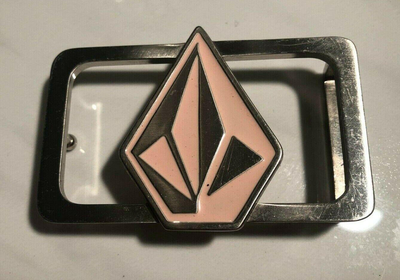 Nice VOLCOM See Through Diamond Logo Pink & Silver Women's Belt Buckle