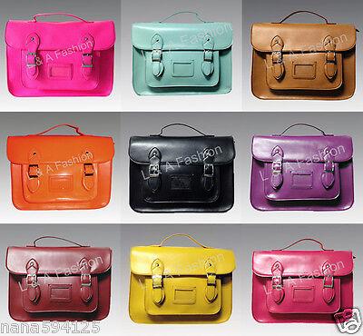 New Ladies Designer Vintage Large Plain Faux Leather  A4 Satchel School Hand Bag