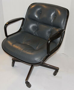 Image Is Loading VINTAGE KNOLL POLLOCK EXECUTIVE GRAY LEATHER CHAIR ARMS