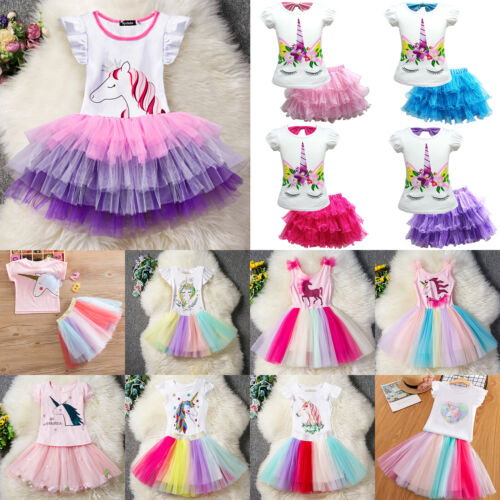 Unicorn Print Girl Kids Party Tutu Skirt Dress Rainbow Mini Dresses Outfits New