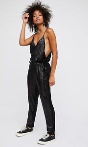 New Free People Shiny Sequin Pantsuit Jumpsuit Black Straight Legs
