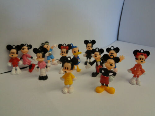 12 pcs-Neuf MICKEY//MINNIE MOUSE mini Toy Figure Set//porte-clés Set//Cake Topper