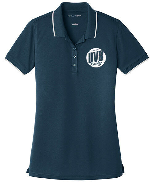 DV8 Women's Tactic Dry Zone Micro-Mesh Tipped Polo Bowling Shirt Navy White