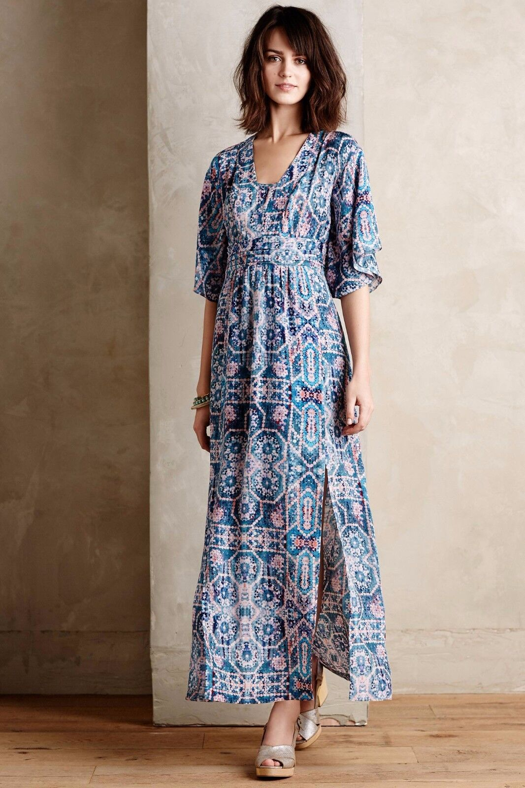 NEW Anthropologie Silk Tilework Maxi Dress by Maeve, Größe 0, 2, 4, Unique light