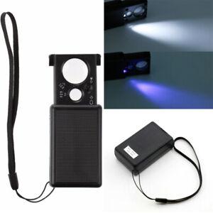 Folding 30X 60X Jeweler Eye Loupe Magnifier Pocket Magnifying Glass LED UV Light