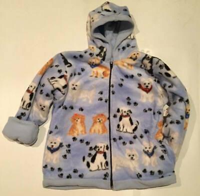 New Winter Fleece Blue Dogs Pupppy Kids Boys Girls Jacket Hood Coat Reversible