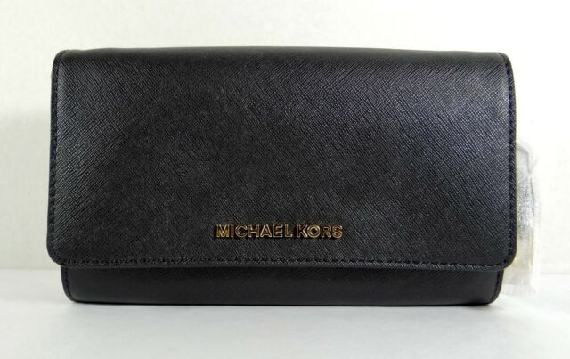 MICHAEL KORS JET SET TRAVEL LEATHER Large WALLET PHONE CROSSBODY IN BLACK
