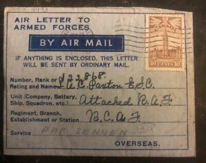 1943 St Davis Ontario Canada Armed Forces Air Letter Cover