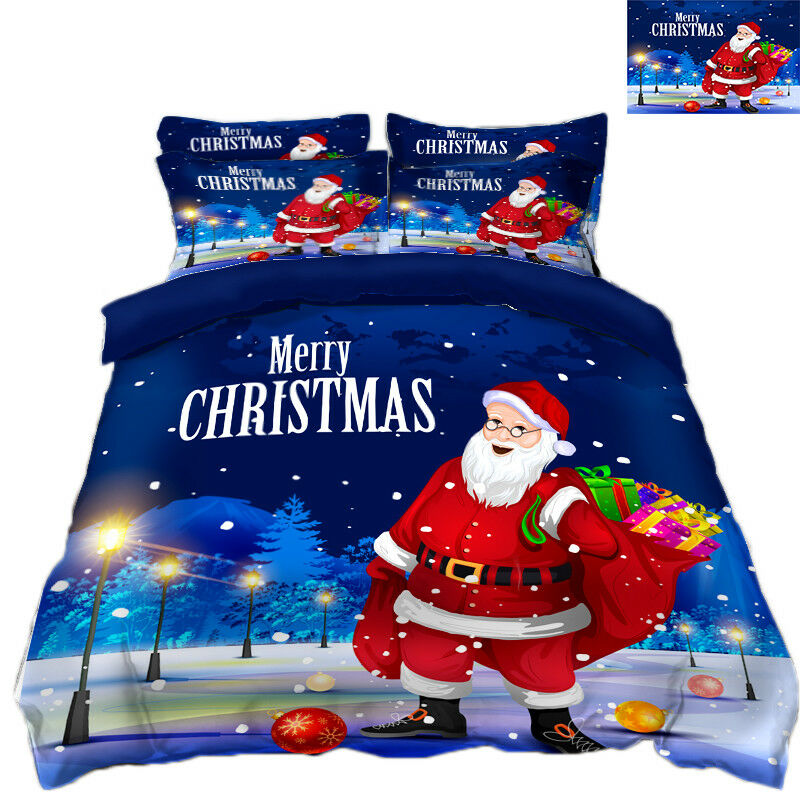 3D Christmas Xmas Street 8 Bed Pillowcases Quilt Duvet Cover Set Single Queen UK