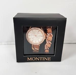 c4356c3d088b La imagen se está cargando Reloj-Pulsera-Montine-Damas-Tejido-De-Color-Oro-