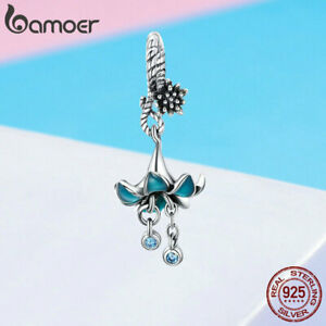 European-Women-DIY-Charms-S925-Sterling-silver-Blue-flower-Fit-Bracelet-Jewelry
