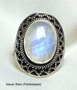Mondstein-Ring-925-Silber-blauer-oder-blau-goldener-Stein-Antik-geschwaerzt-neu