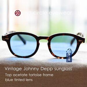 28911f8fbc4 Image is loading Retro-Vintage-sunglasses-Johnny-Depp-eyeglass-mens-blue-