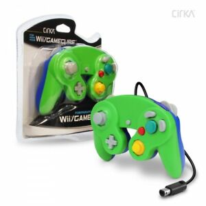Wired-Controller-for-Wii-GameCube-Green-Blue-CirKa-New