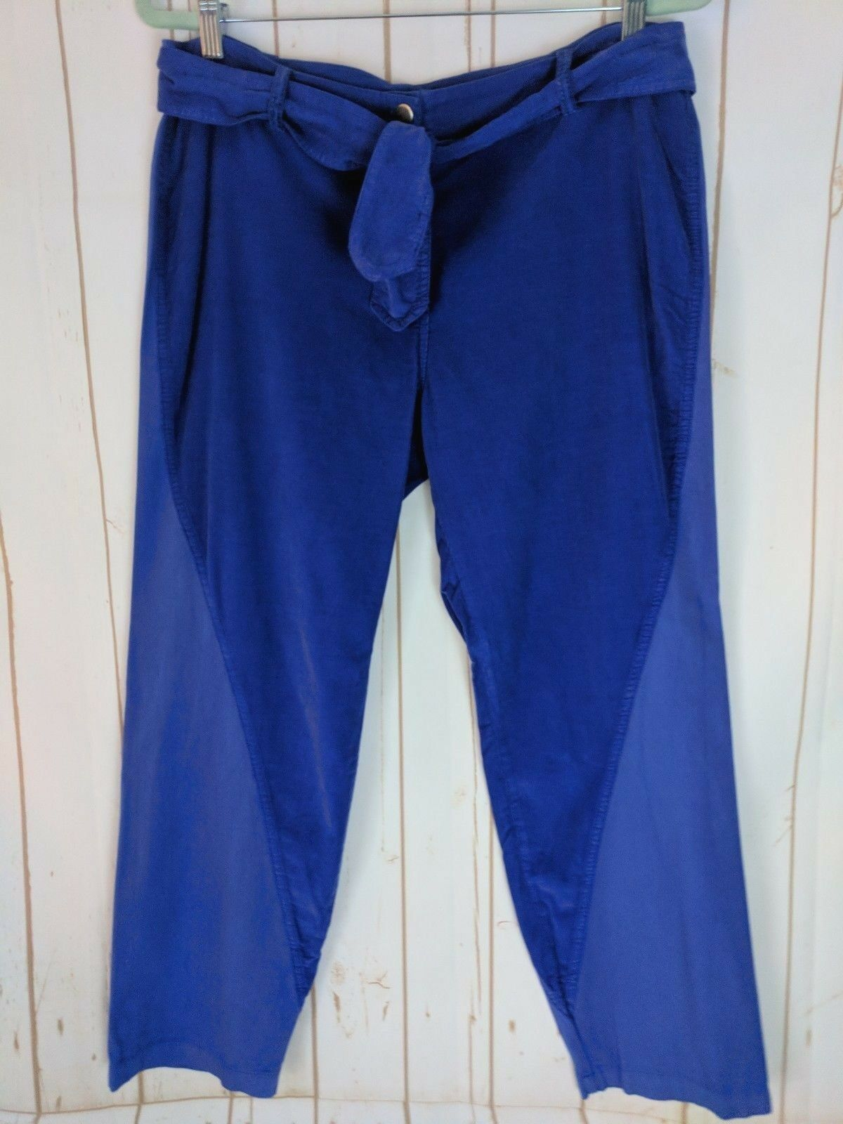 Monrow Pants M Royal bluee Cotton Zip Tie Waist Thin Partial Corduroy Seam Design