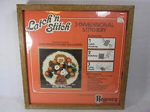 Basket of Flowers Latch 'n Stitch with wood frame unopened Regency Brand