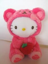 Hello Kitty Pink Teddy Bear Outfit Carrying a Strawberry Plush Keychain,NEW