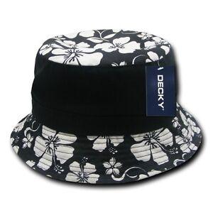 Black /& White Floral Fisherman/'s Fishing Bucket Hiking Cotton Polo Hat Sz L//XL