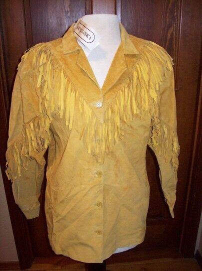 Lauren Alexandra Leather Fringe top skirt suit size 8