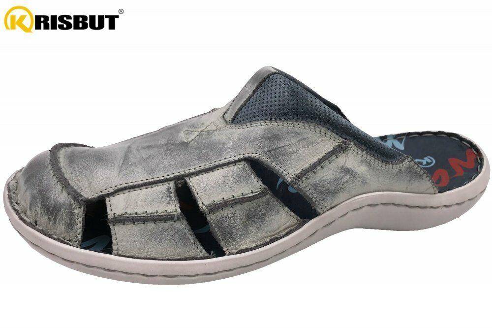 Krisbut Herren Pantolette Grau Schuhe Leder Sommer 1075-24