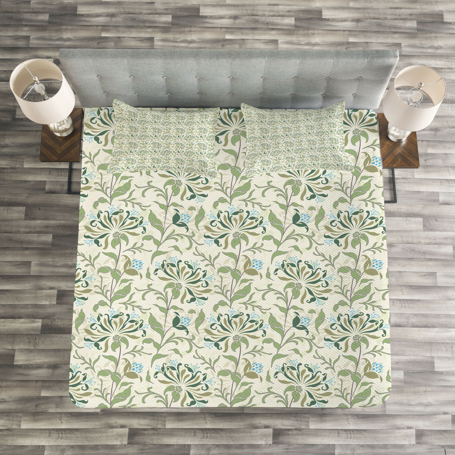 Green Quilted Bedspread & Pillow Shams Set, Pastel Floral Ornaments Print