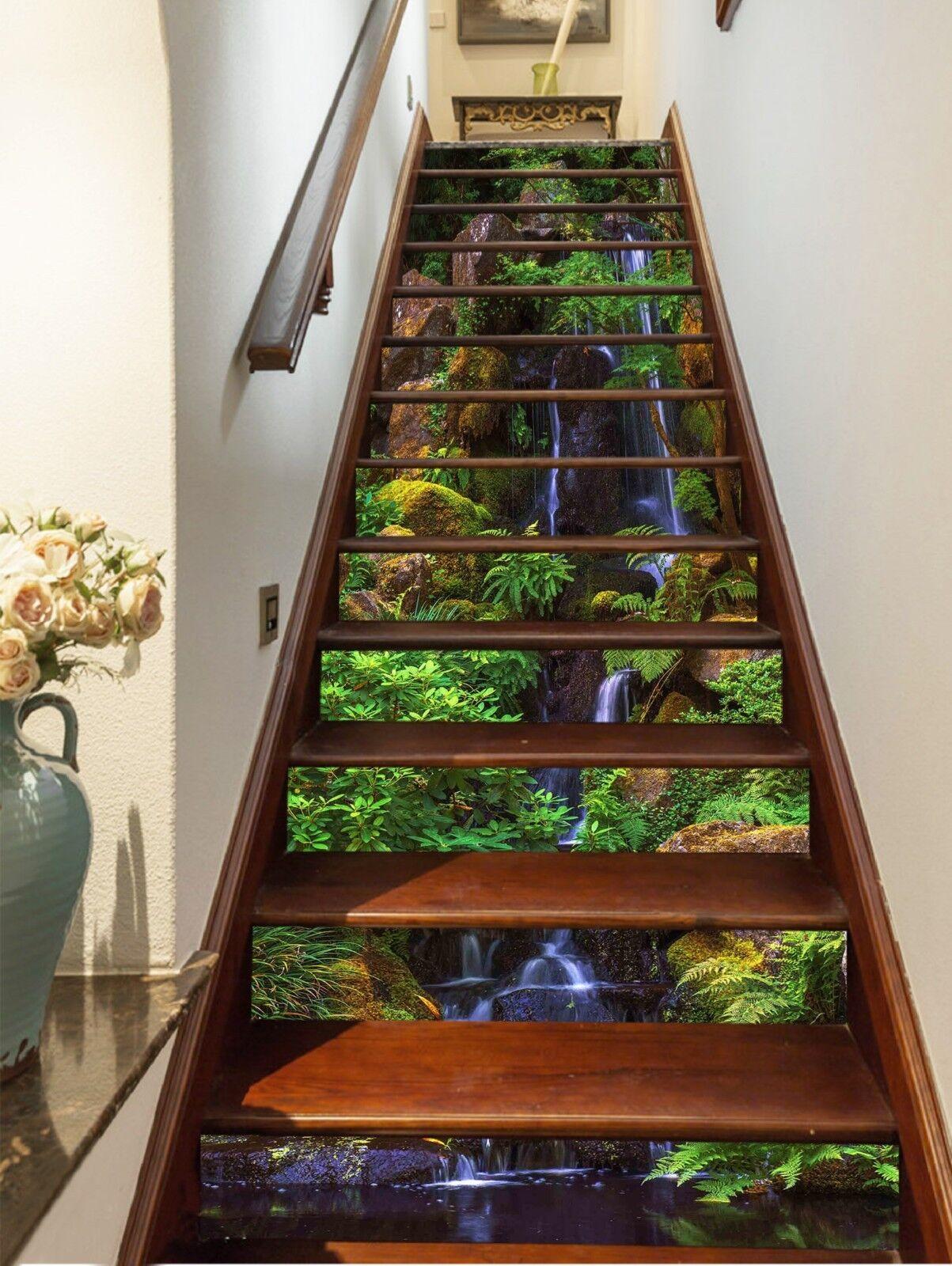 3D Leaf water 357 Stair Risers Decoration Photo Mural Vinyl Decal Wallpaper UK
