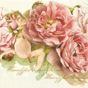 20 Servietten Mary Roses Edle Rosen Blumen Vintage Rosa Weiss