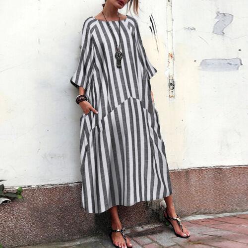 ZANZEA Women Floral Striped Batwing Casual Loose Long Shirt Dress Kaftan Dresses